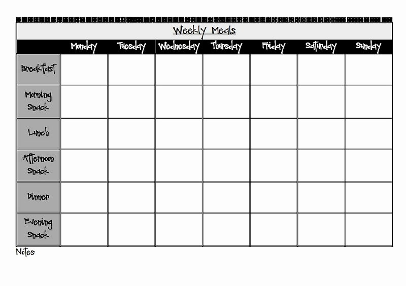 Black and White Calendar Template Unique Weekly Meal Planner Printable Black and White