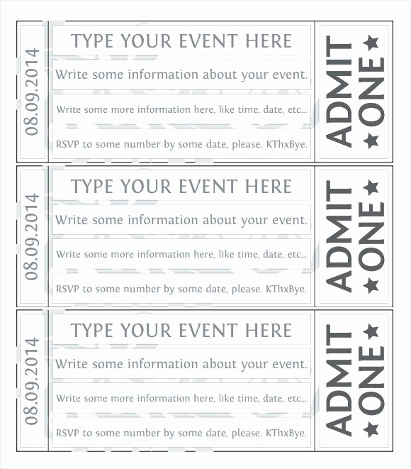 Blank Admit One Ticket Template Beautiful Movie Ticket Templates Free Word formats Download Inside