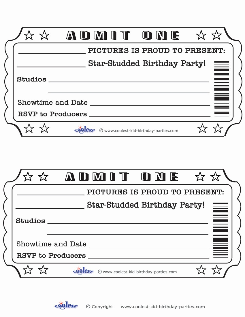 Blank Admit One Ticket Template Fresh Blank Movie Ticket Invitation Template Free Download Aashe