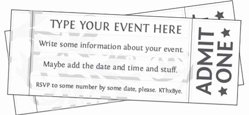 Blank Admit One Ticket Template Fresh Free Printable event Ticket Templates