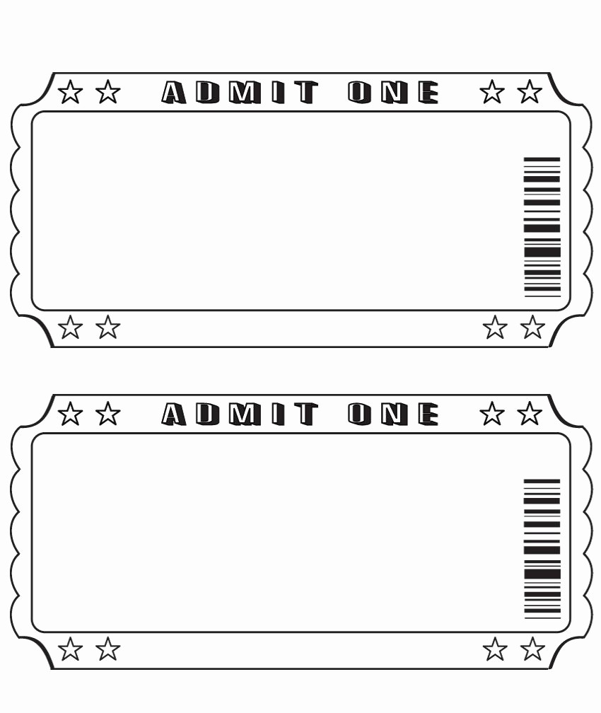 Blank Admit One Ticket Template Inspirational Blank Ticket …