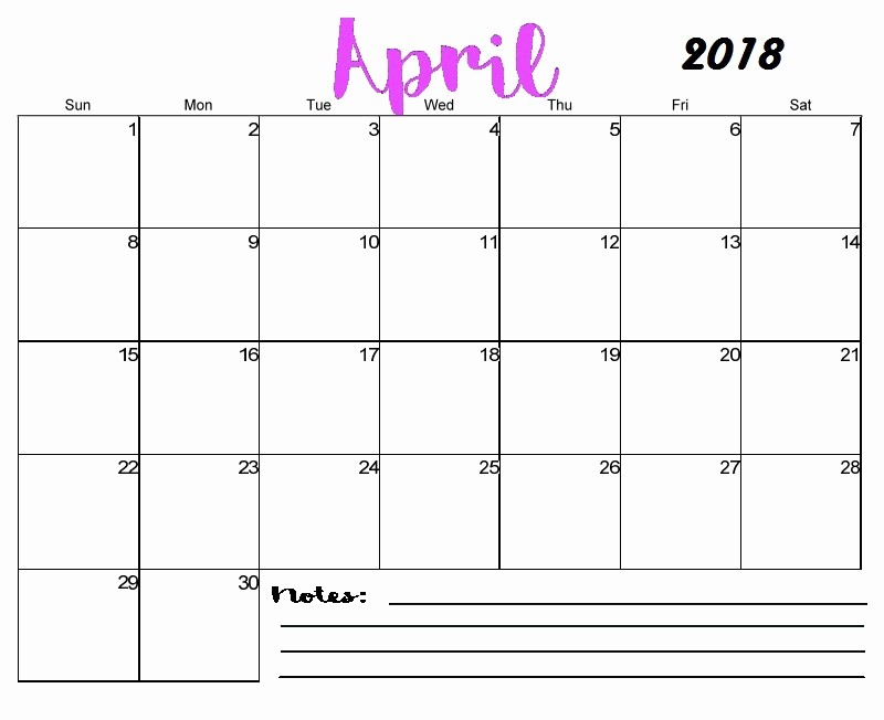 Blank April 2018 Calendar Template Awesome April 2018 Monthly Calendar Printable