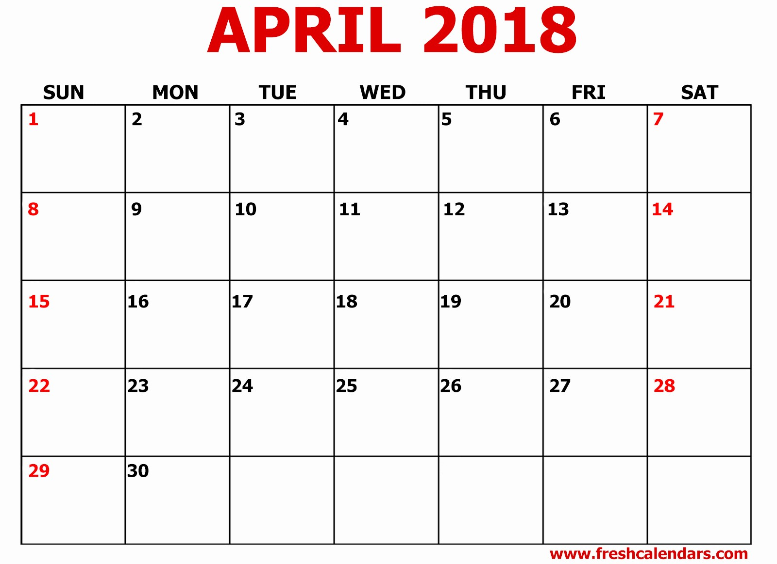 Blank April 2018 Calendar Template Awesome April 2018 Printable Calendar Pdf Free Download