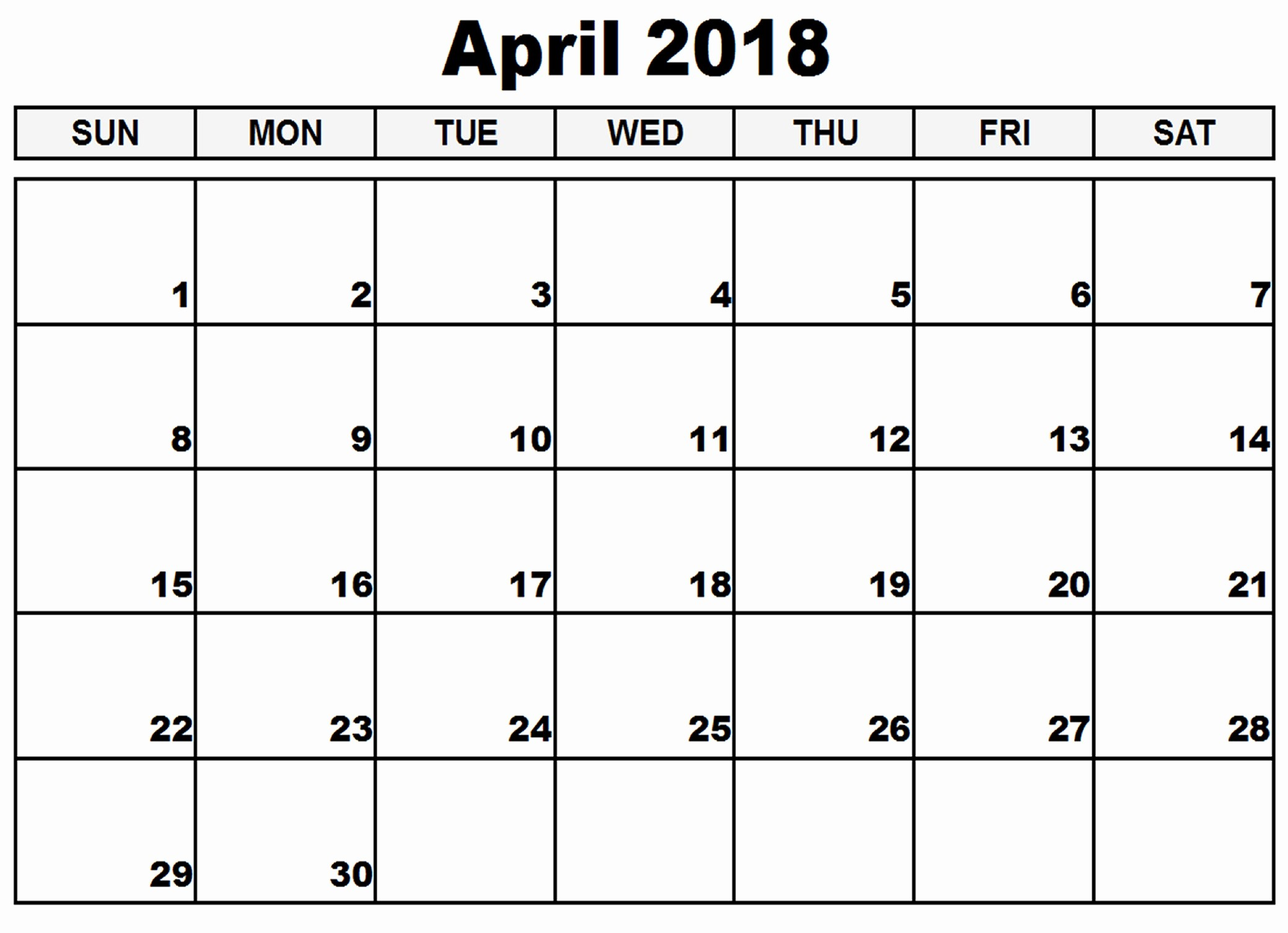 Blank April 2018 Calendar Template Awesome Blank April 2018 Calendar Template Printable
