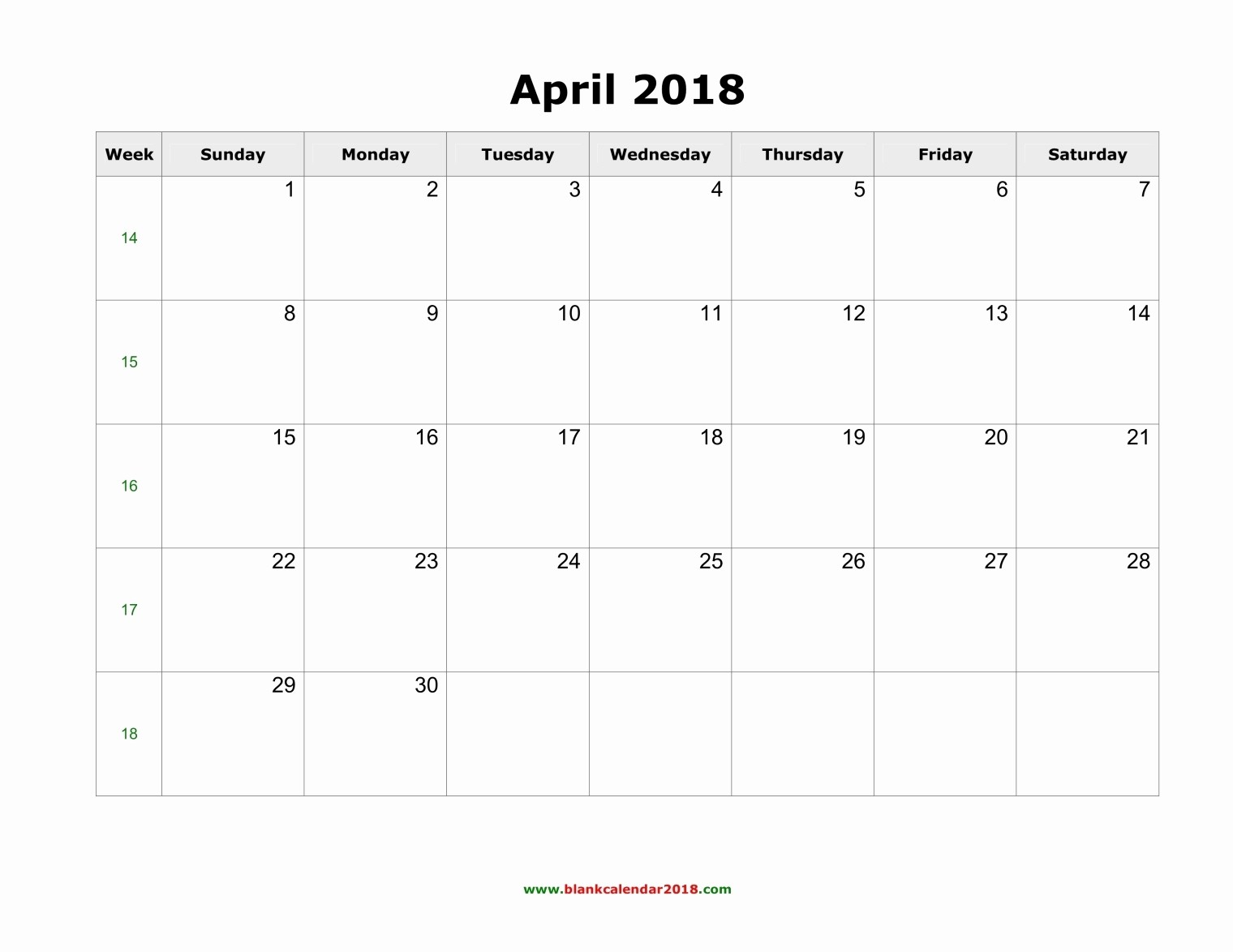 Blank April 2018 Calendar Template Awesome Blank Calendar for April 2018