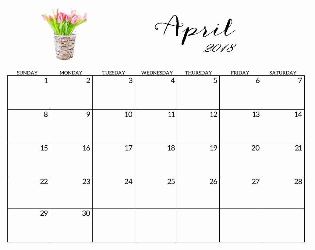 Blank April 2018 Calendar Template Awesome Printable 2018 Monthly Blank Templates
