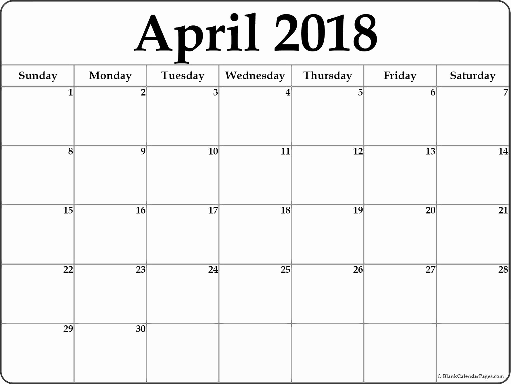 Blank April 2018 Calendar Template Best Of April 2018 Blank Calendar Templates