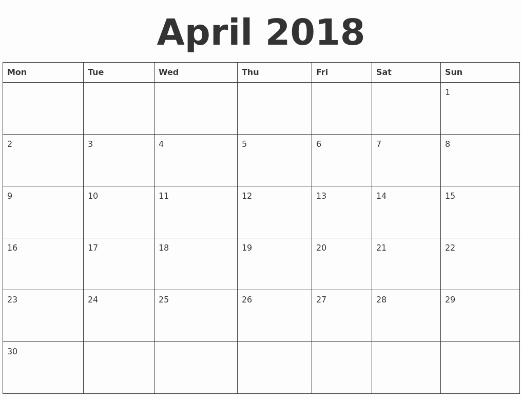 Blank April 2018 Calendar Template Elegant April 2018 Blank Calendar Template