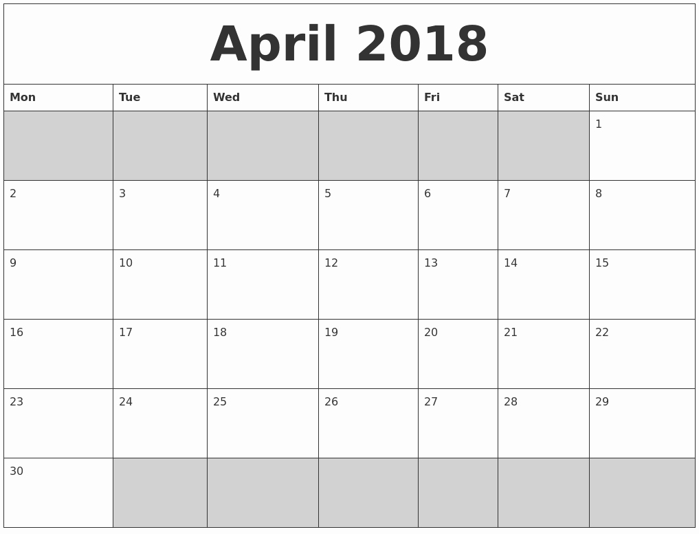 Blank April 2018 Calendar Template Elegant April 2018 Blank Printable Calendar