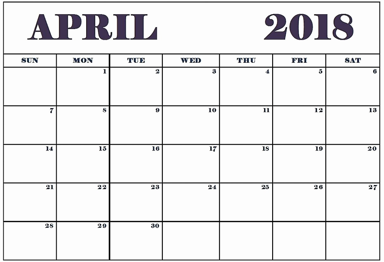 Blank April 2018 Calendar Template Elegant Blank April 2018 Calendar Printable