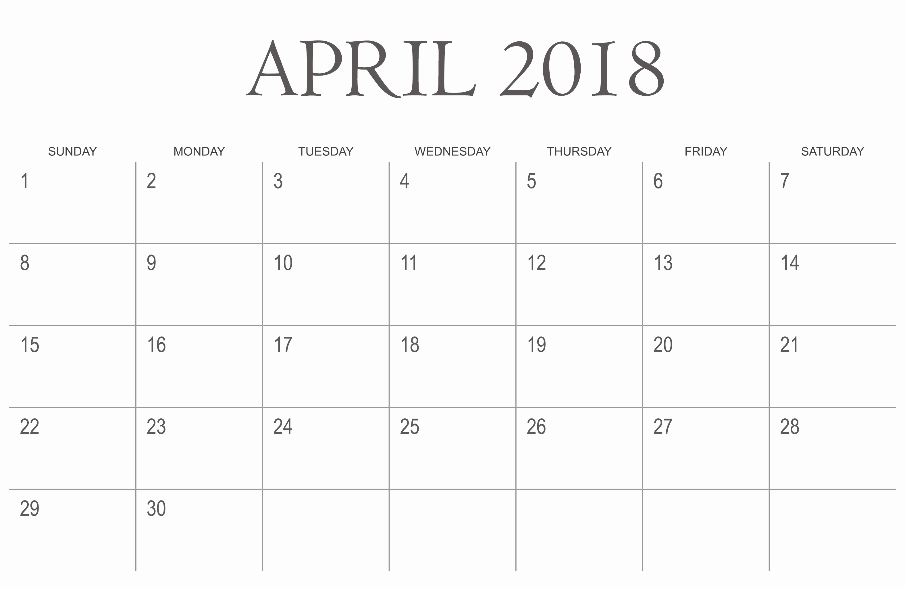 Blank April 2018 Calendar Template Elegant Printable April 2018 Daily Calendar Quote