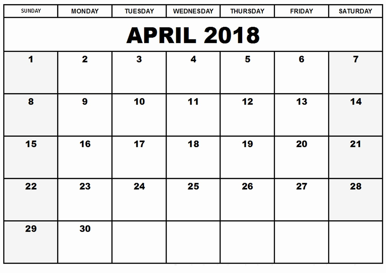 Blank April 2018 Calendar Template Elegant Printable Blank 2018 Monthly Calendar April – Printable