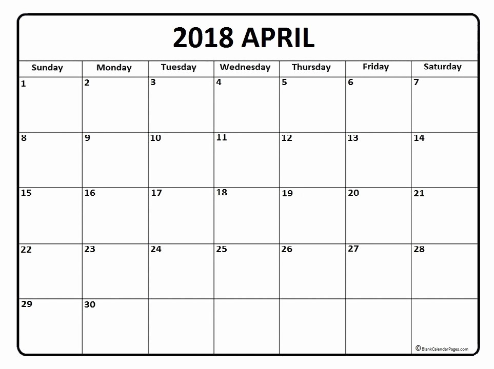 Blank April 2018 Calendar Template Fresh April 2018 Calendar April 2018 Calendar Printable