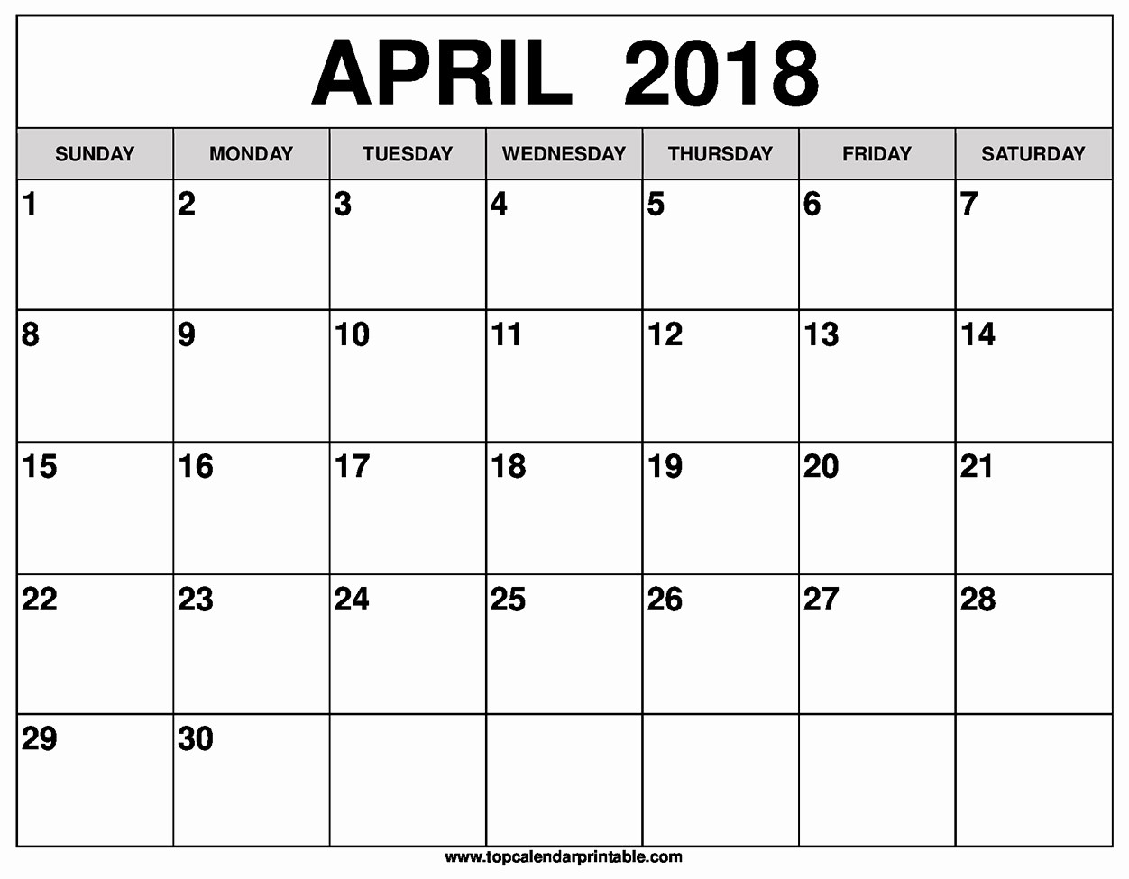 Blank April 2018 Calendar Template Fresh Blank April 2018 Calendar Printable