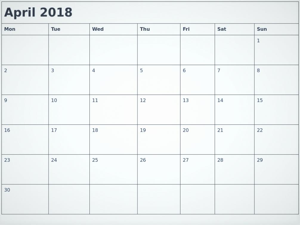 Blank April 2018 Calendar Template Fresh Blank April 2018 Calendar Printable
