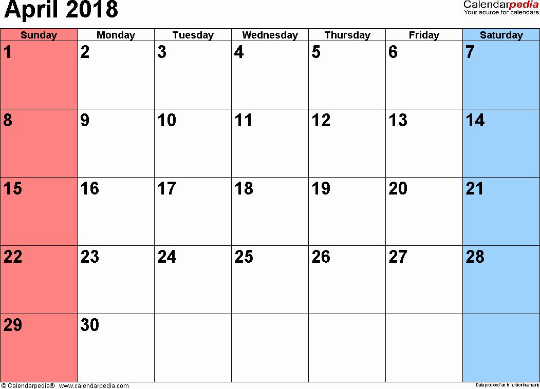 Blank April 2018 Calendar Template Inspirational April 2018 Calendars for Word Excel & Pdf