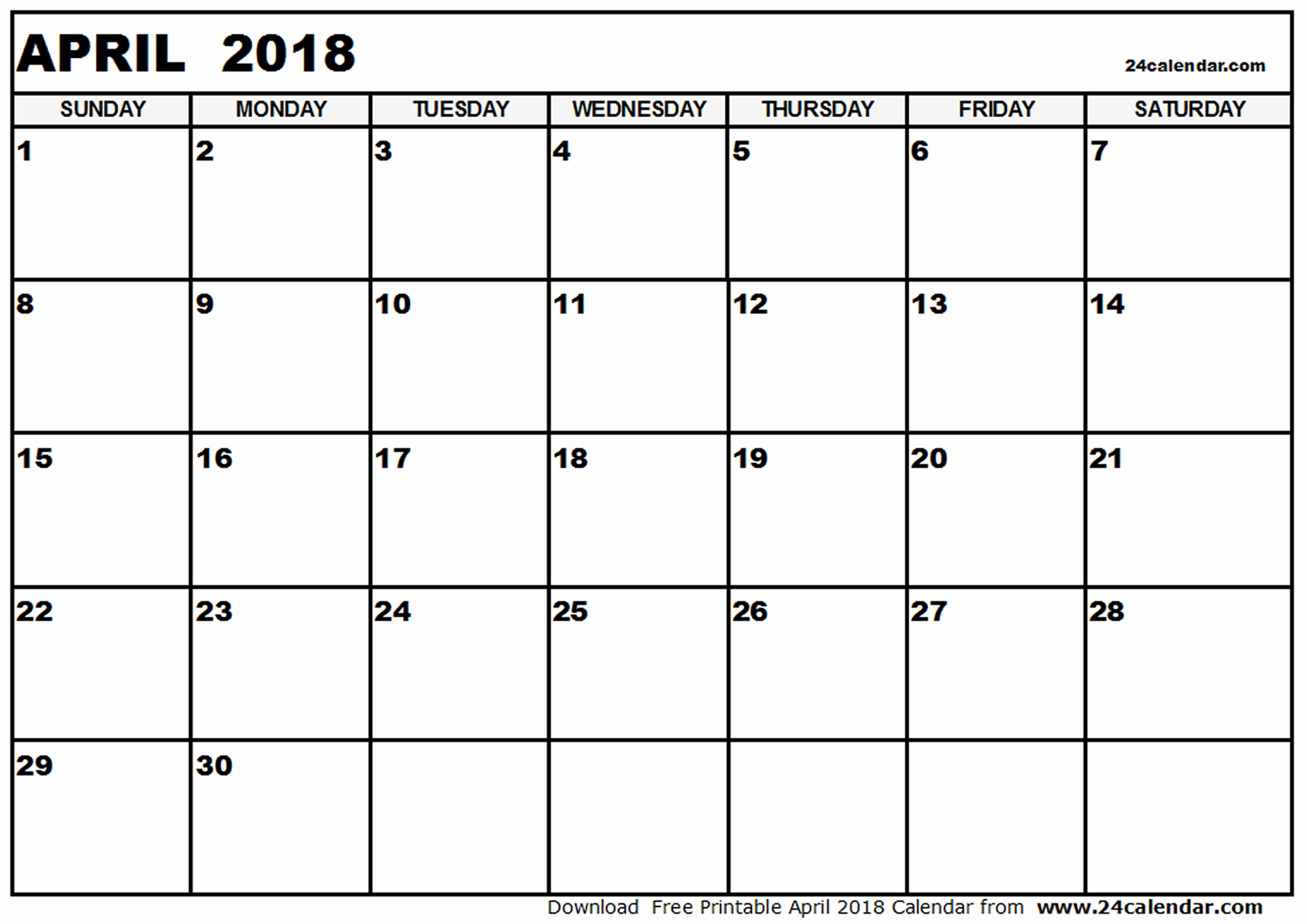 Blank April 2018 Calendar Template Inspirational Blank 2018 Calendar