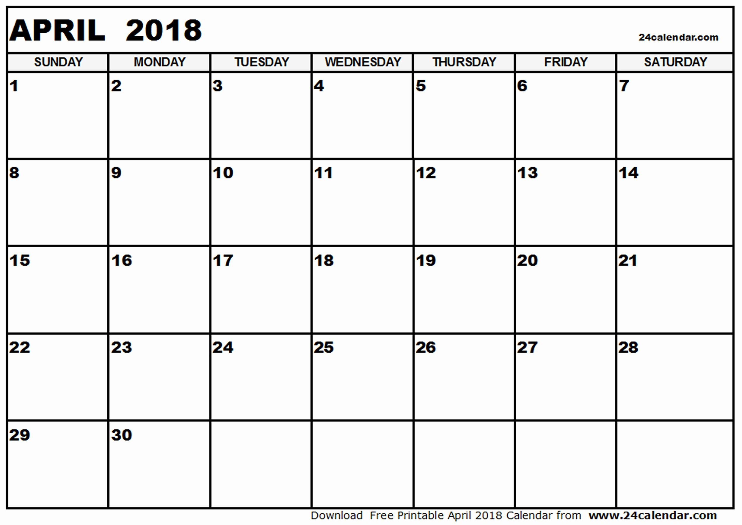 Blank April 2018 Calendar Template Inspirational Blank 2018 Calendar