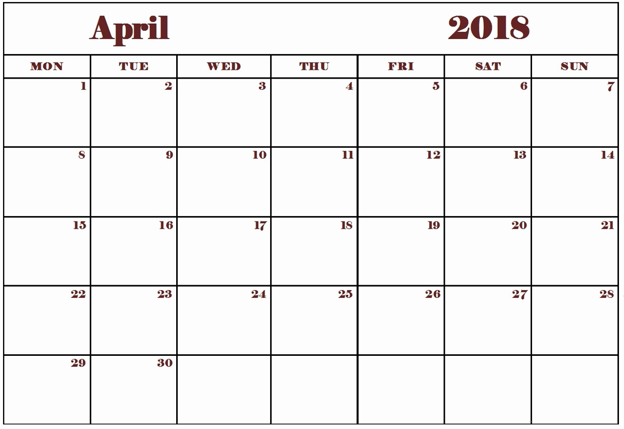Blank April 2018 Calendar Template Inspirational Blank and Editable April 2018 Calendar Wallpapers