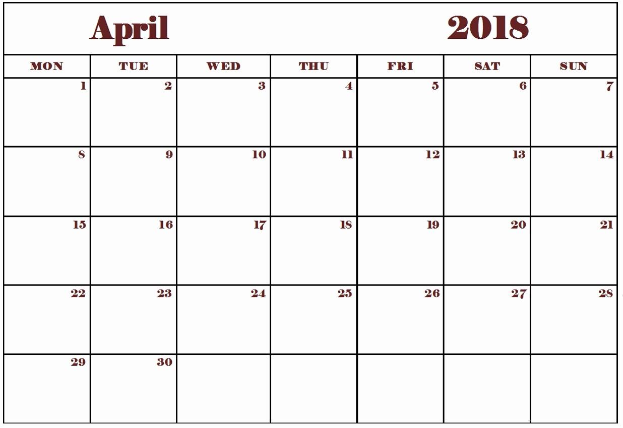 Blank April 2018 Calendar Template Inspirational Blank and Editable April 2018 Calendar Wallpapers