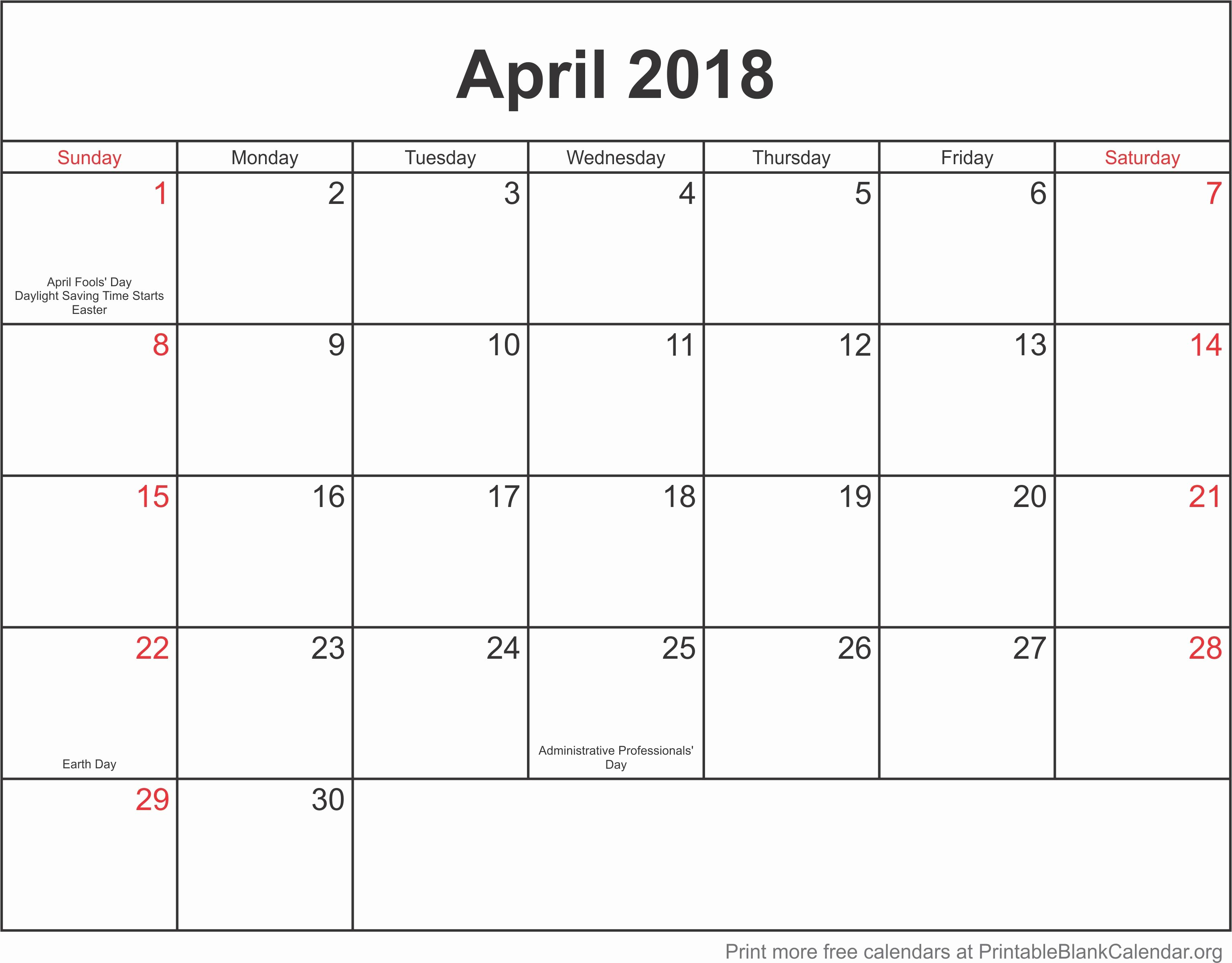 Blank April 2018 Calendar Template Inspirational Calendar Template April 2018 Printable Blank Calendar