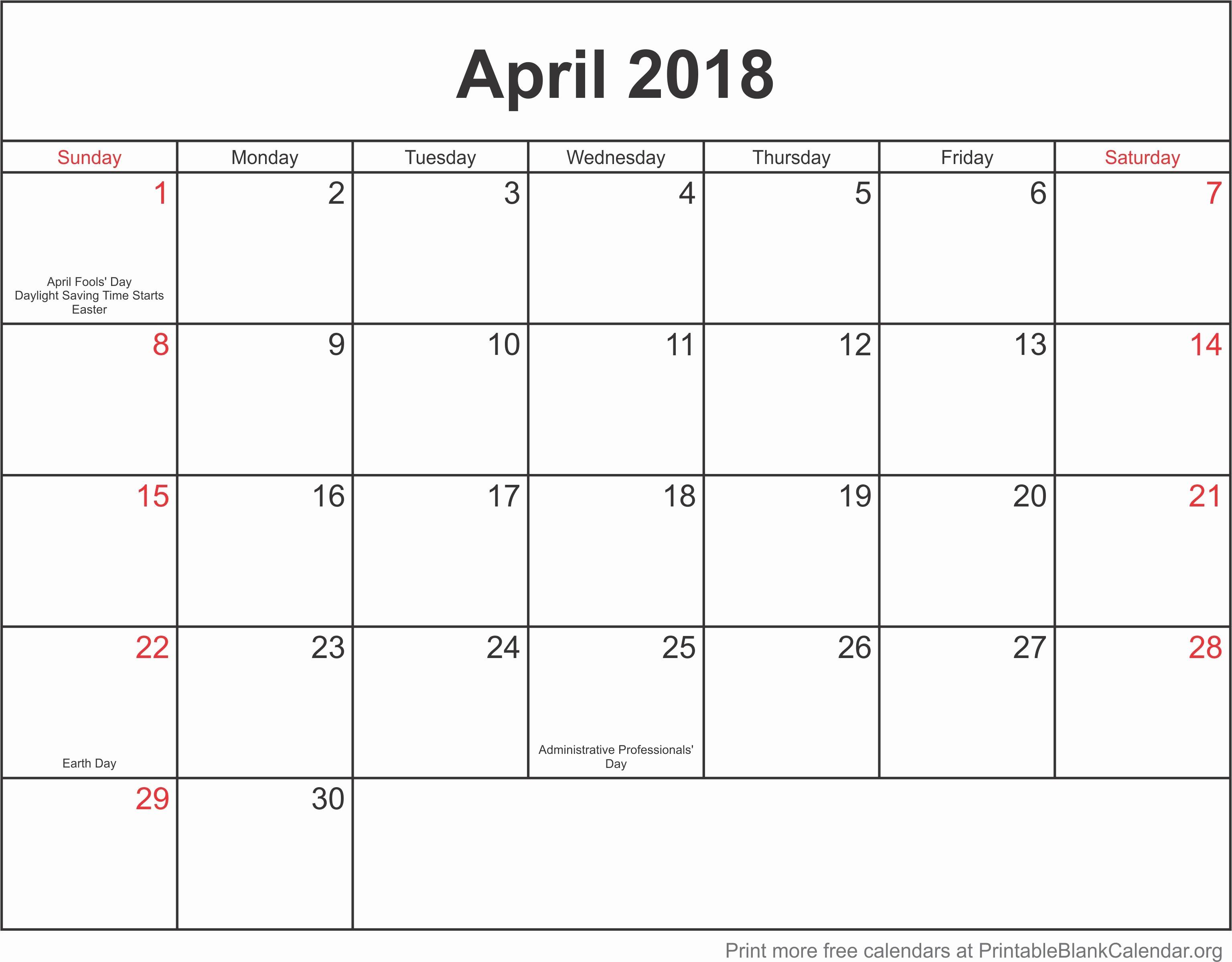 Blank April 2018 Calendar Template Inspirational Calendar Template April 2018 Printable Blank Calendar