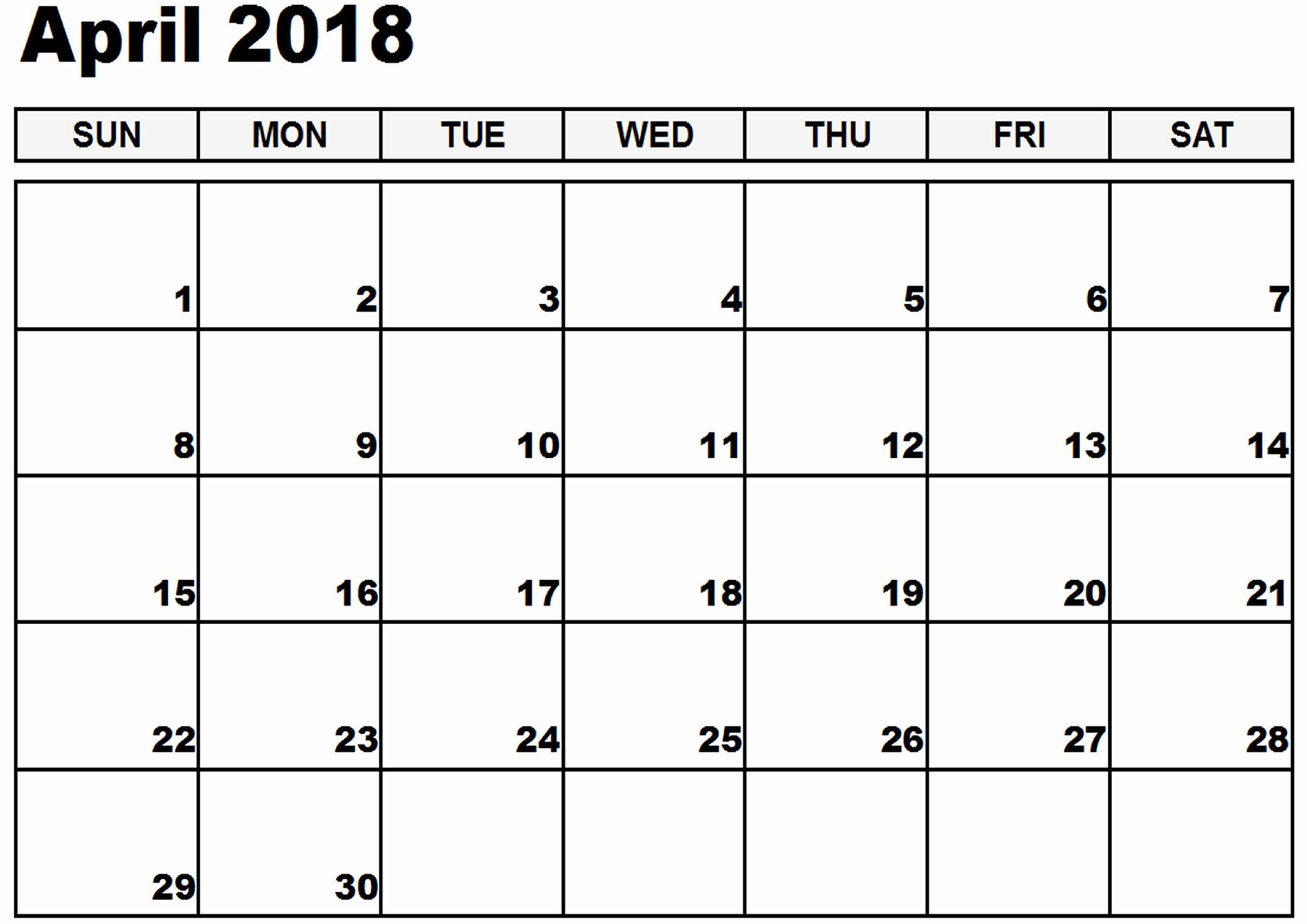 Blank April 2018 Calendar Template Lovely April 2018 Calendar Printable [free]