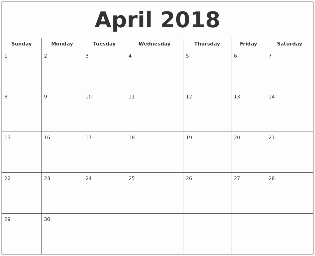 Blank April 2018 Calendar Template Lovely April 2018 Calendar Template – Printable Calendar Templates