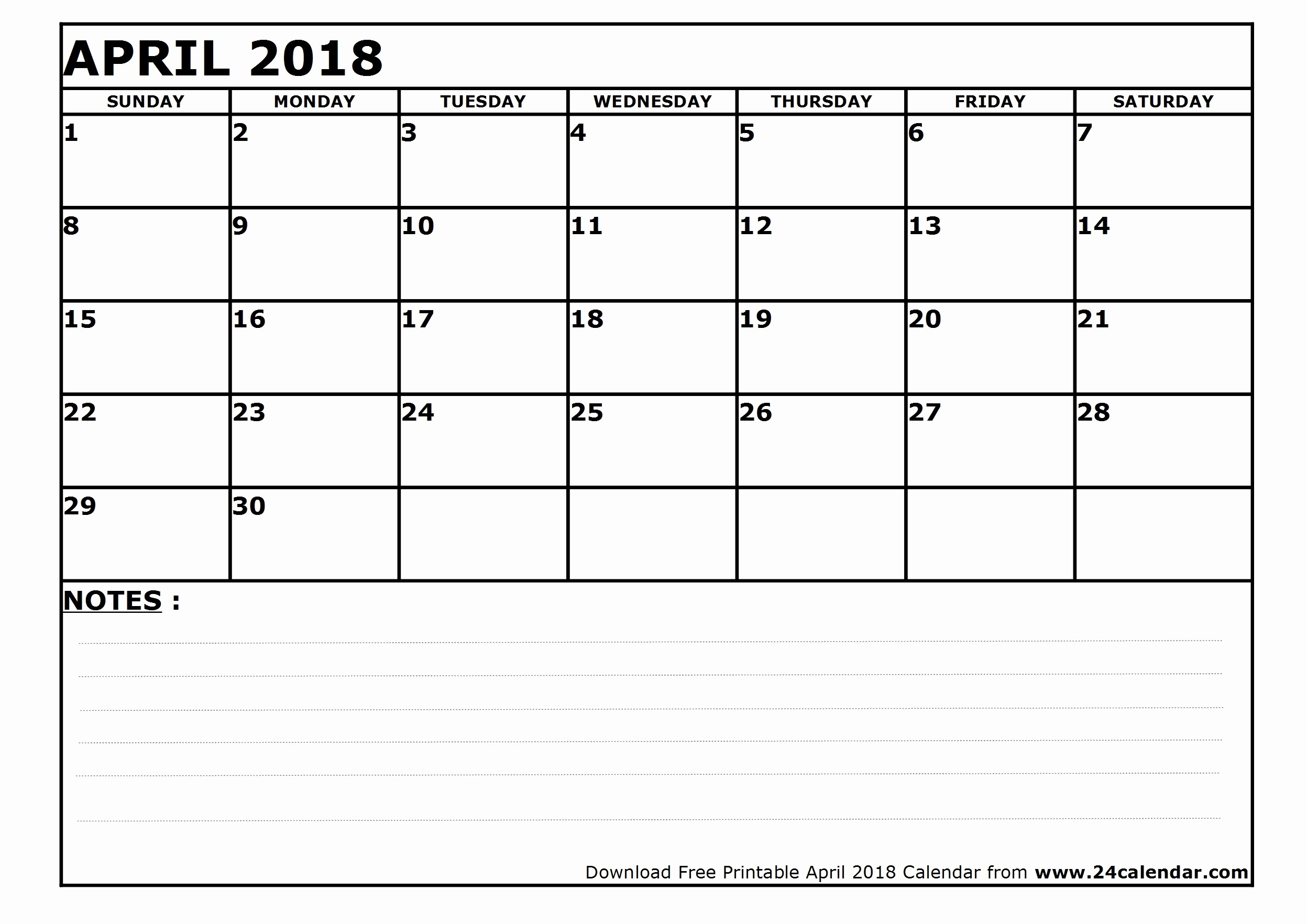 Blank April 2018 Calendar Template Lovely Blank April 2018 Calendar In Printable format