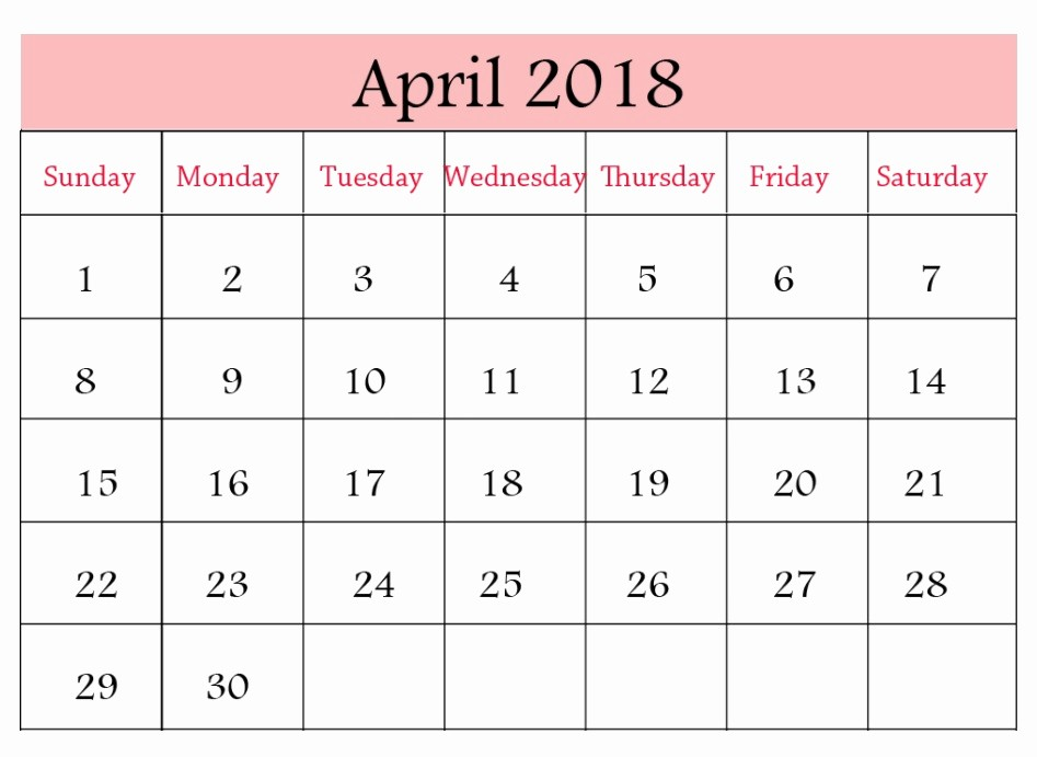 Blank April 2018 Calendar Template Lovely Blank Template April 2018