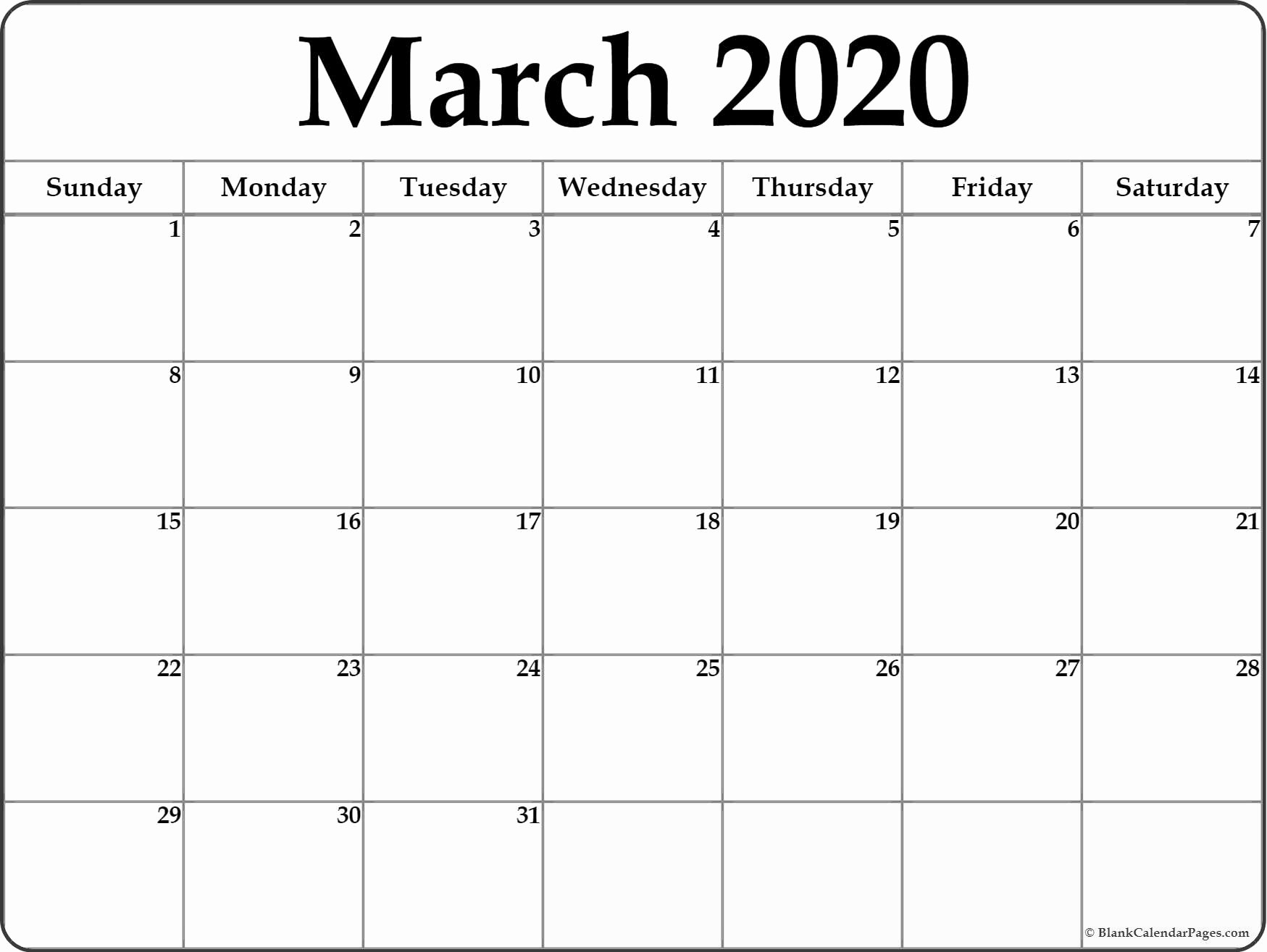 Blank April 2018 Calendar Template Lovely March 2020 Blank Calendar Collection