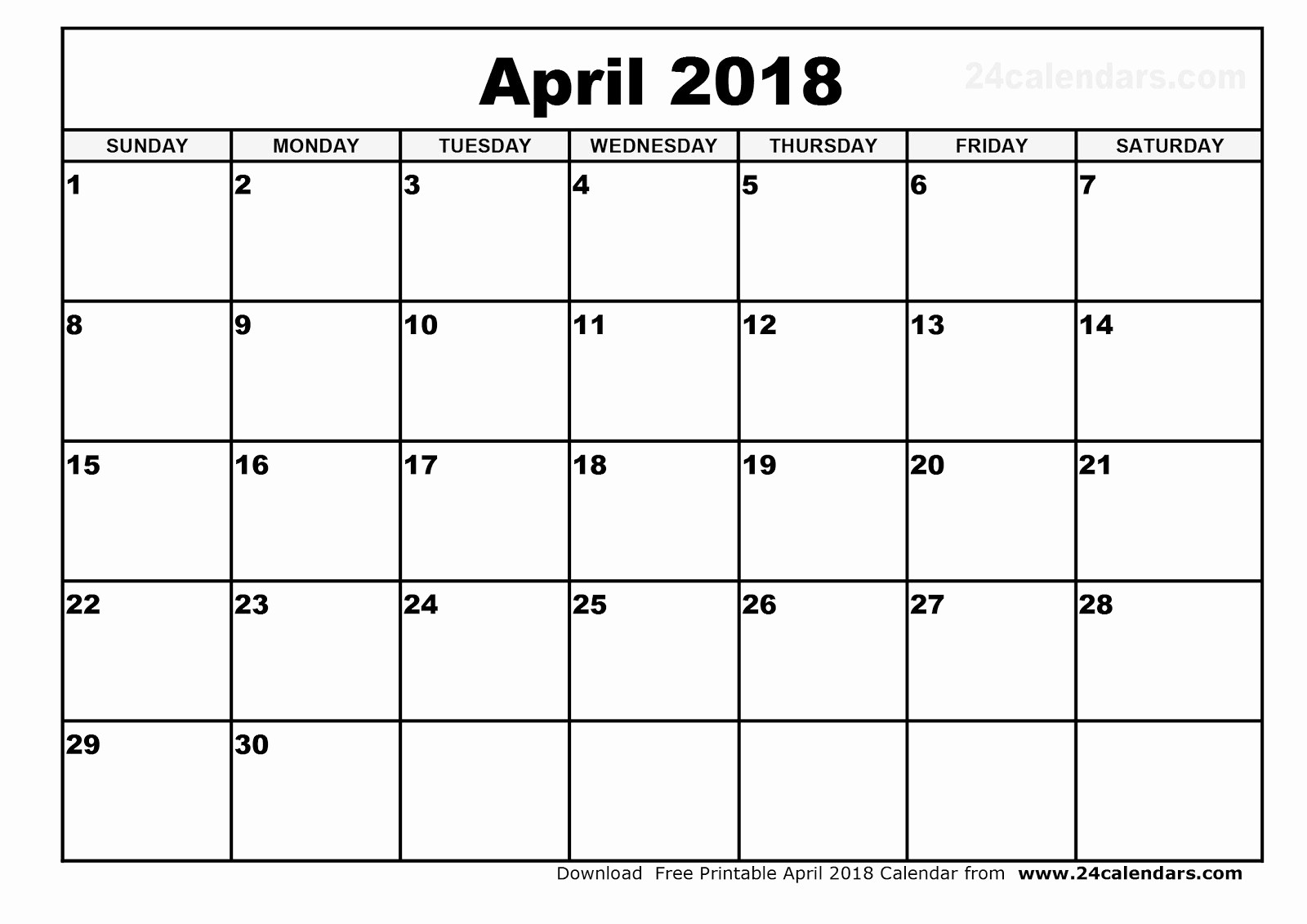 Blank April 2018 Calendar Template Lovely Printable Calendar 2018 [free] April 2018 Printable