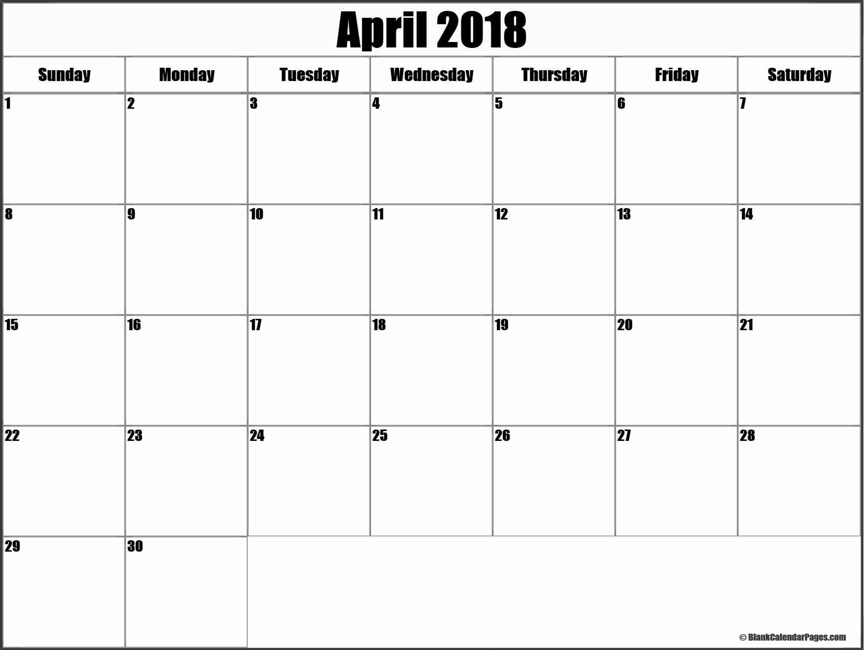 Blank April 2018 Calendar Template Luxury April 2018 Blank Calendar Templates