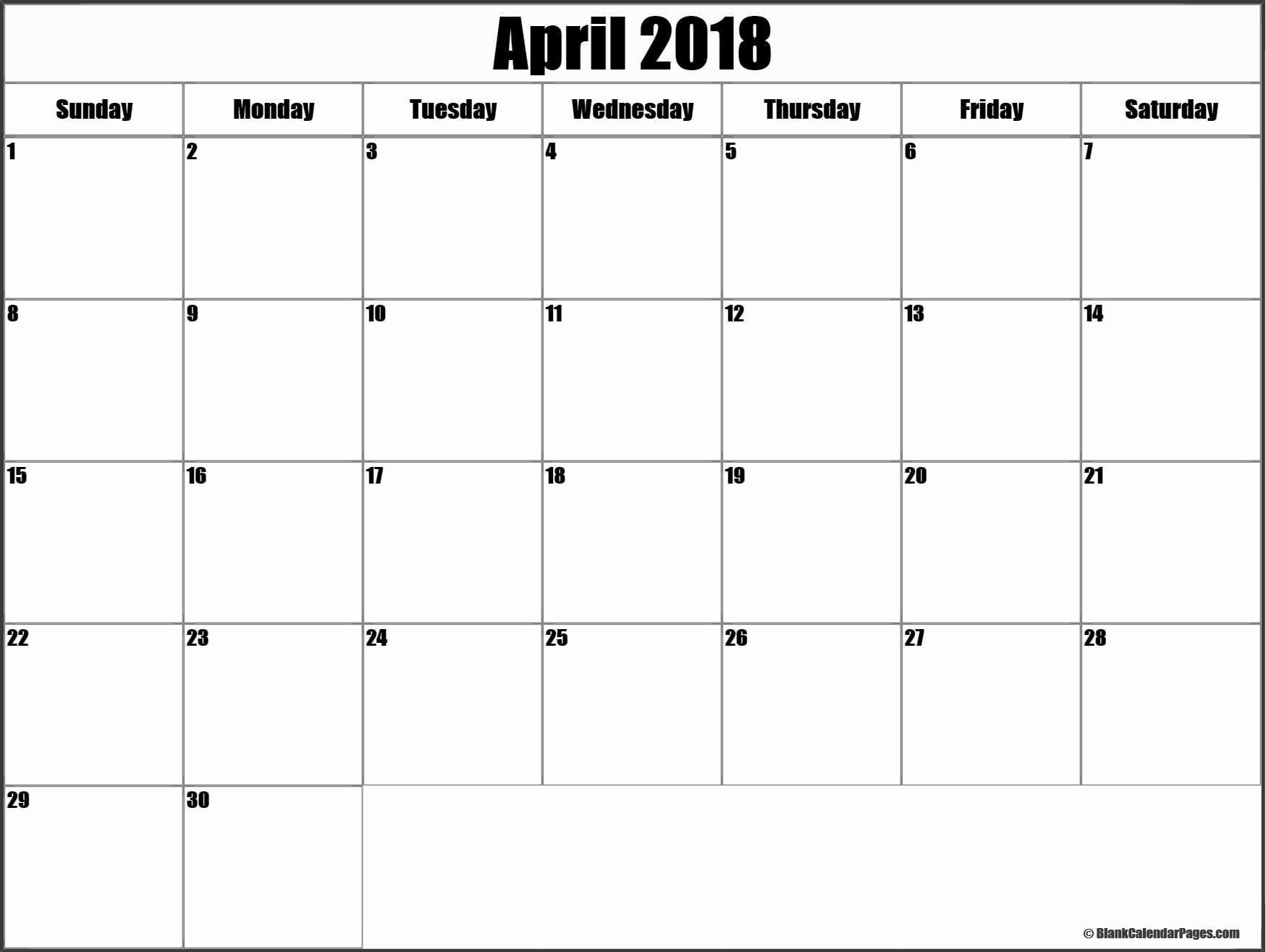 Blank April 2018 Calendar Template Luxury April 2018 Blank Calendar Templates