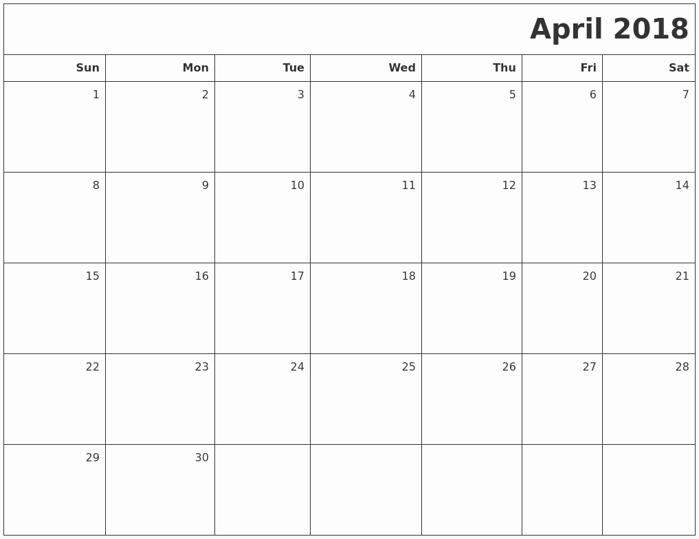 Blank April 2018 Calendar Template Luxury April Calendars