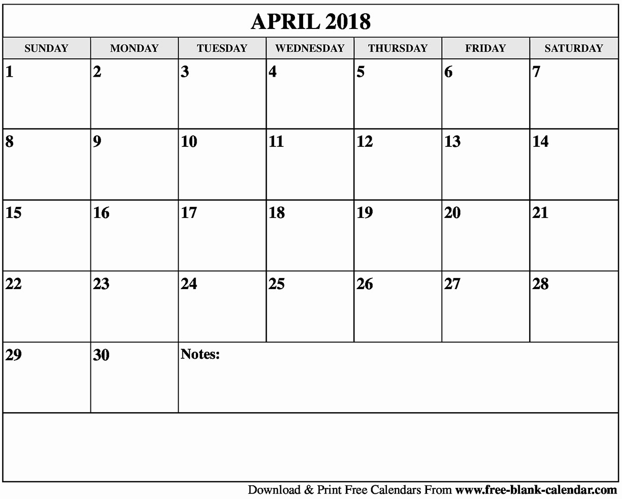 Blank April 2018 Calendar Template Luxury Blank April 2018 Calendar Printable
