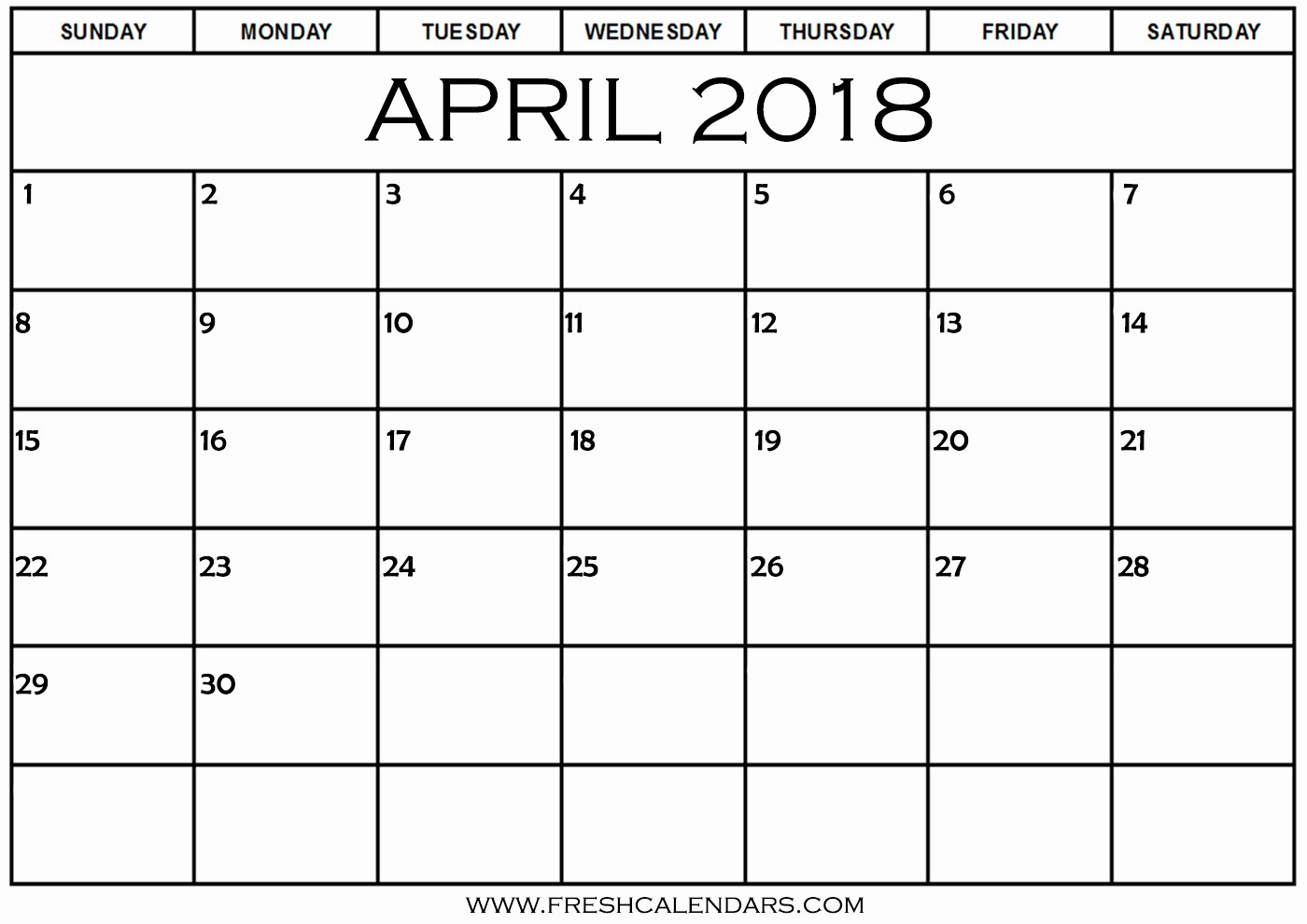Blank April 2018 Calendar Template Luxury Blank April 2018 Calendar Printable Templates
