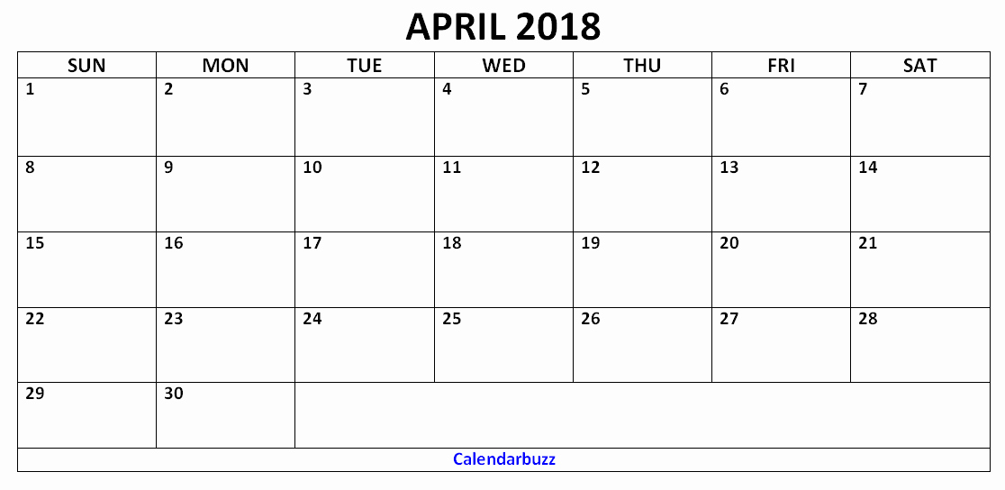 Blank April 2018 Calendar Template Luxury Blank April 2018 Calendar Template Printable