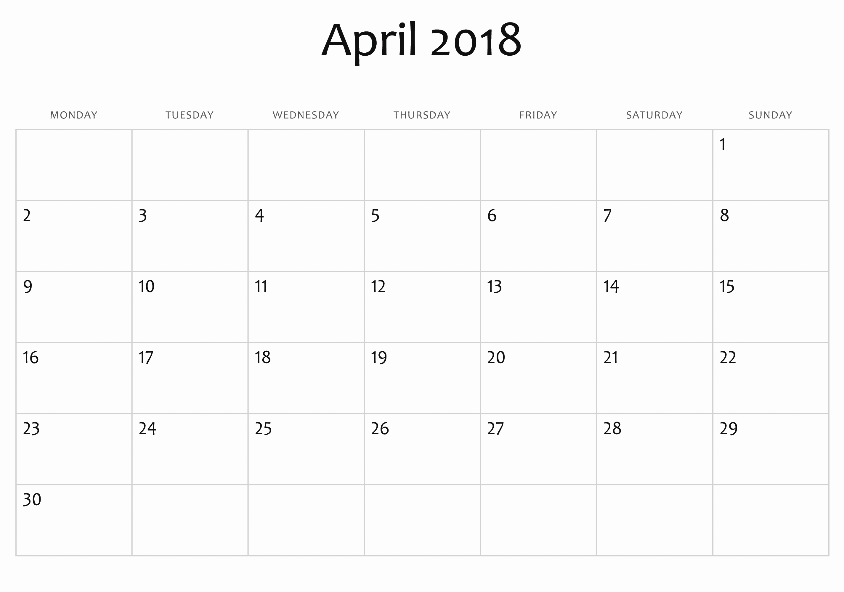 blank april 2018 calendar template printable