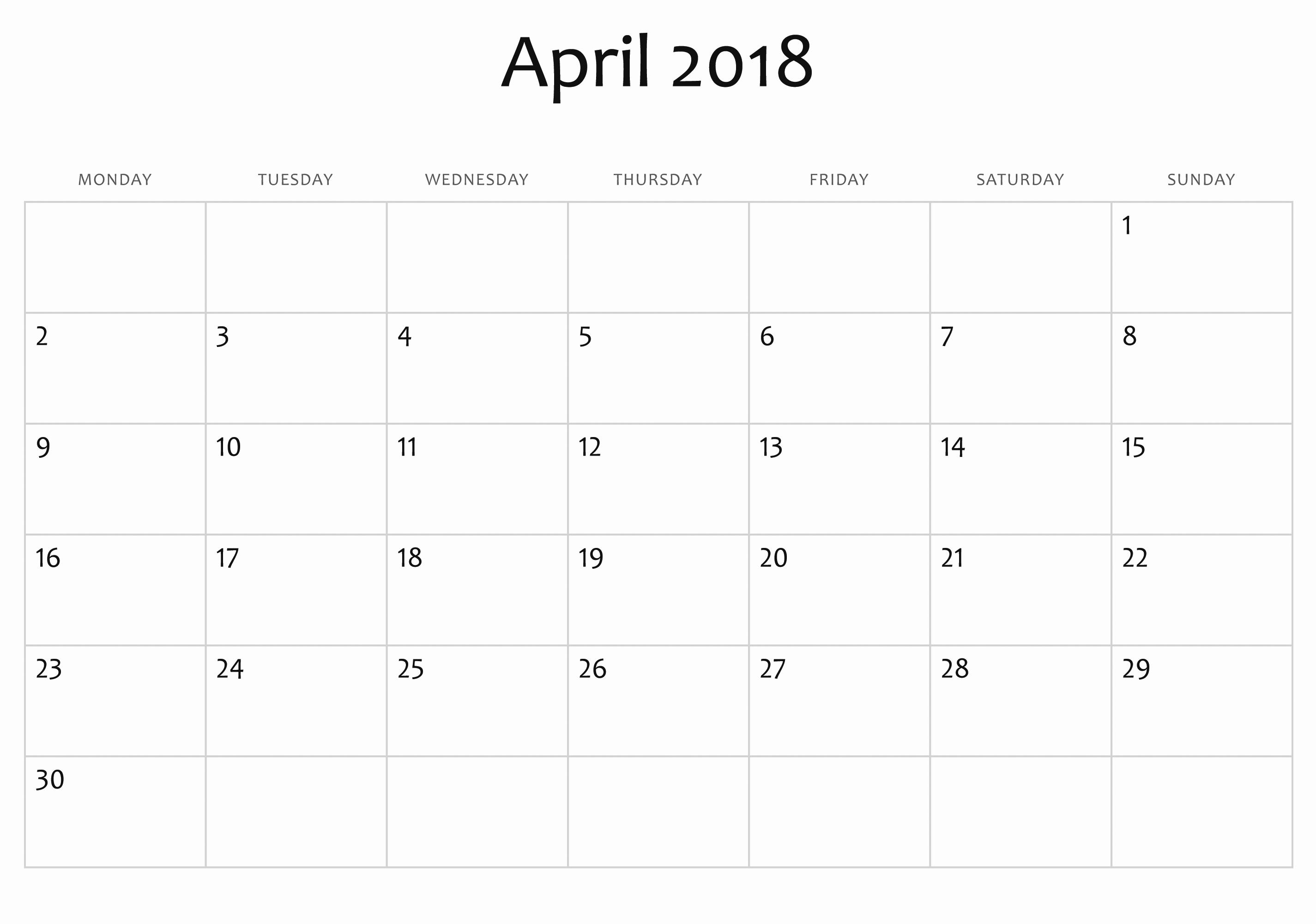 blank april 2018 calendar template printable