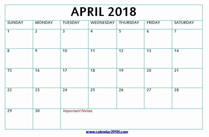 Blank April 2018 Calendar Template Luxury Download Blank Calendar 2018 Monthly Printable Templates