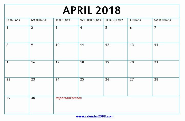 Blank April 2018 Calendar Template Luxury Download Blank Calendar 2018 Monthly Printable Templates