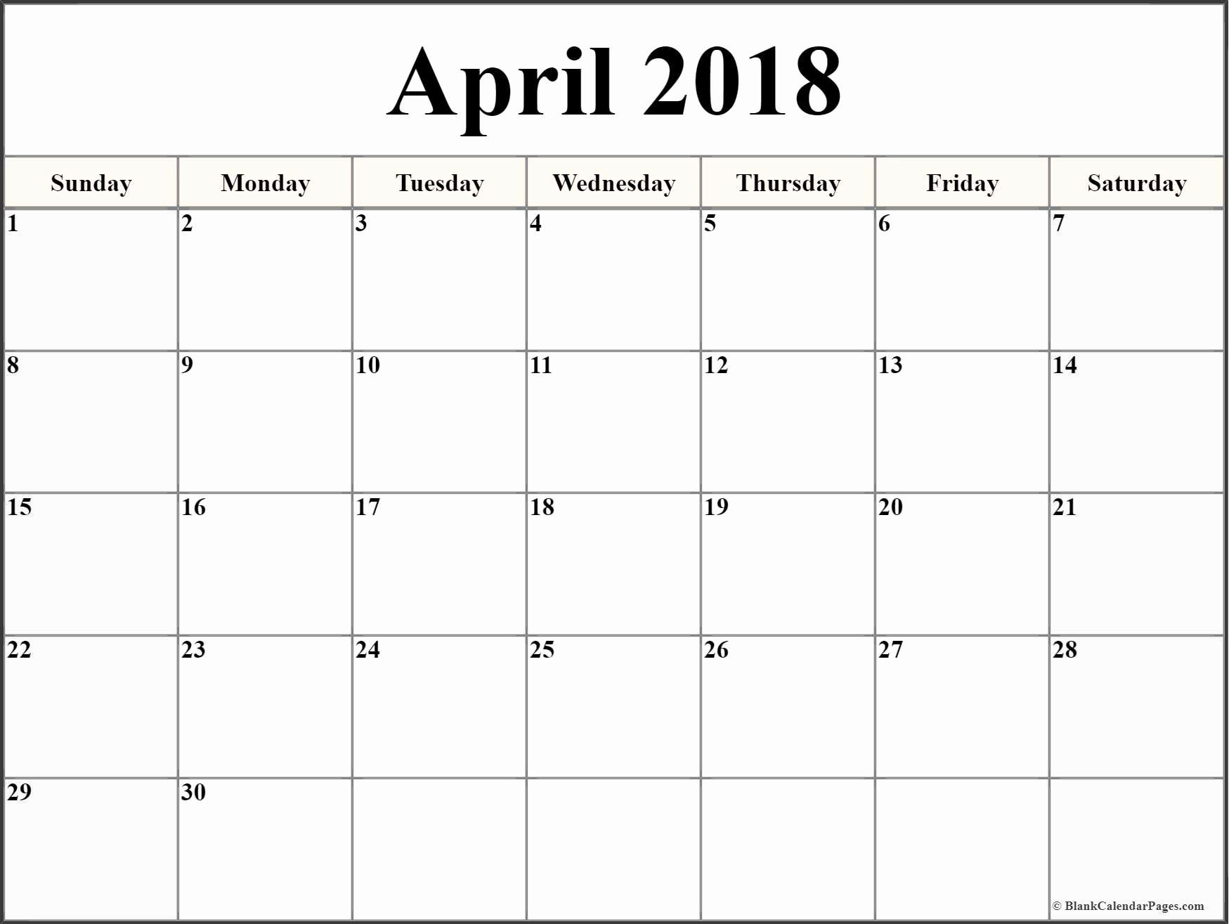 Blank April 2018 Calendar Template New April 2018 Blank Calendar Templates