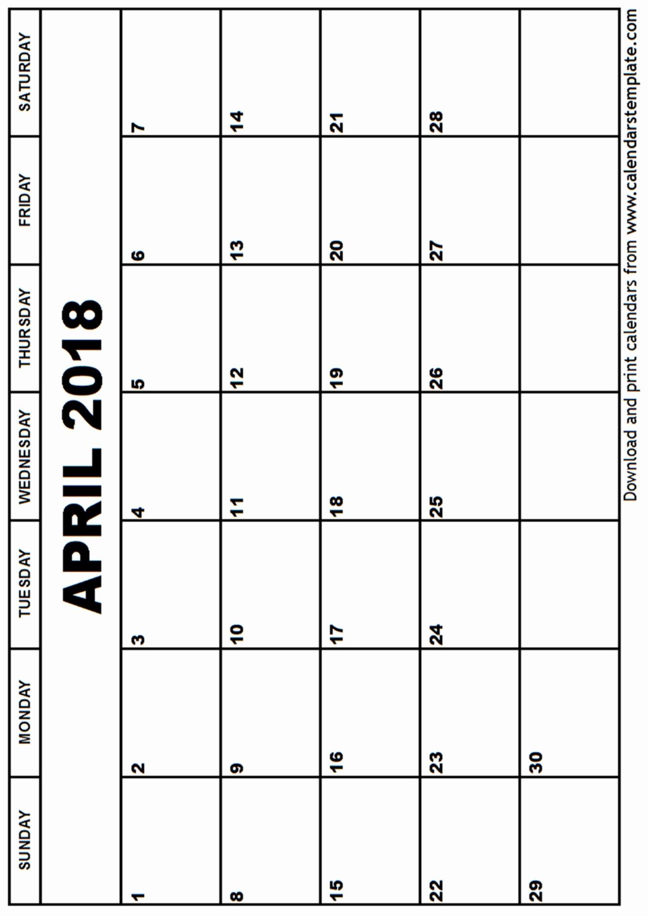Blank April 2018 Calendar Template Unique April 2018 Calendar Template