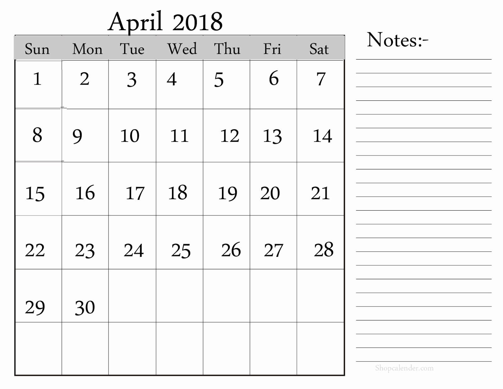 Blank April 2018 Calendar Template Unique April 2018 Printable Calendar