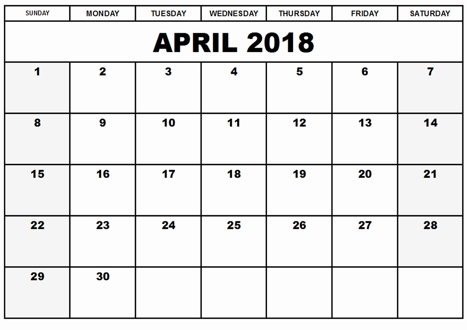 Blank April 2018 Calendar Template Unique Blank Printable Calendar 2018