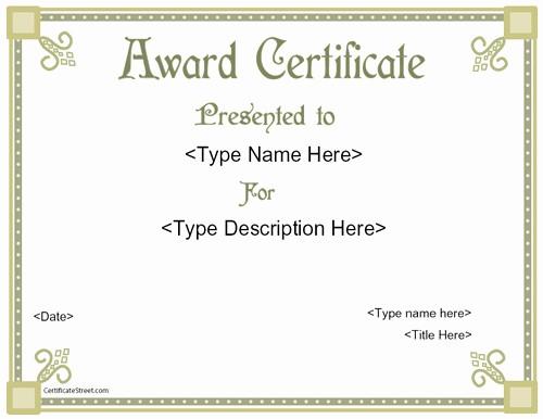 Blank Award Certificates to Print Inspirational Award Templates Free Printable