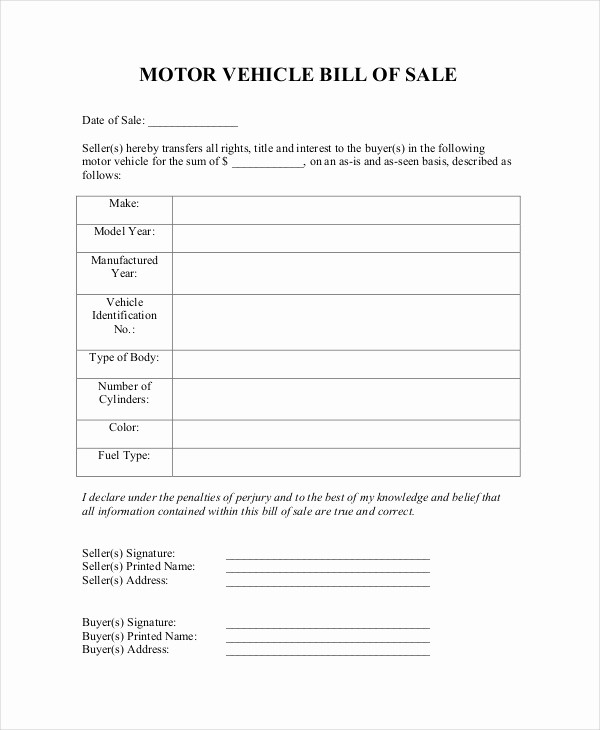 Blank Bill Of Sale Vehicle Awesome Blank Bill Of Sale Template 7 Free Word Pdf Document