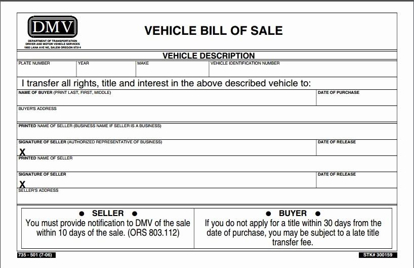 Blank Bill Of Sale Vehicle Beautiful Free oregon Vehicle Bill Of Sale form