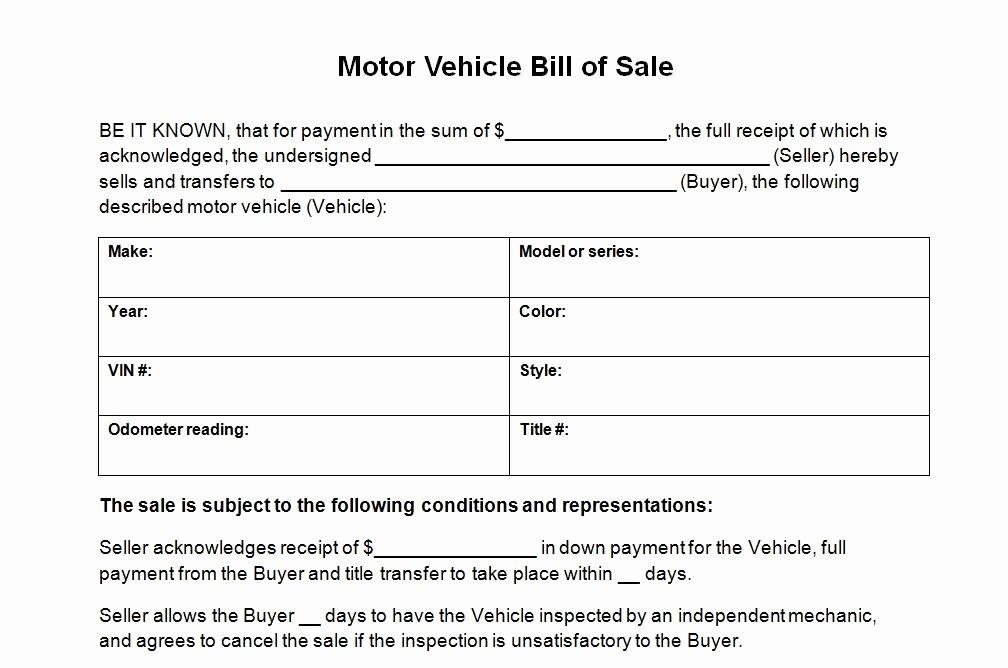 Blank Bill Of Sale Vehicle Beautiful Motor Vehicle Bill Of Sale Template